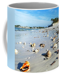 Lido Beach Sea Shells 1 Coffee Mug by Lou Ann Bagnall