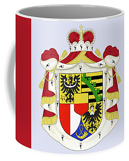 Coffee Mug featuring the drawing Liechtenstein Coat Of Arms by Movie Poster Prints