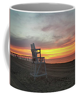 Lifeguard Stand On The Beach At Sunrise Coffee Mug