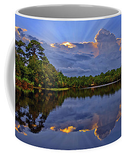 Light Beam Sunset Over Hidden Lake In Jupiter Florida Coffee Mug