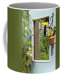 Light Blue Door Planter Coffee Mug