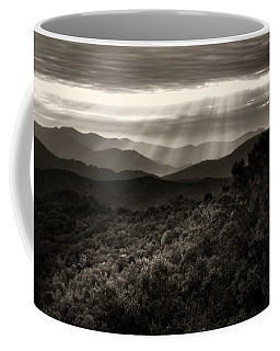 Light On The Mountains In Black And White Coffee Mug