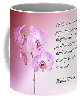 Coffee Mug featuring the photograph Light Pink Orchid Psalms 71 by Linda Phelps