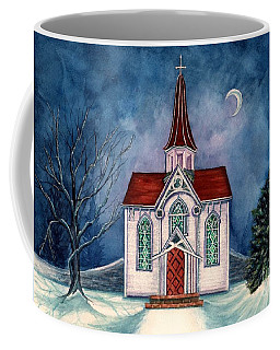 Coffee Mug featuring the painting Light Shines On - Winter Country Church by Janine Riley