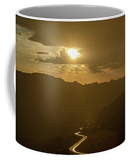 Coffee Mug featuring the photograph Light Up The Highway In The Rain by Gaelyn Olmsted