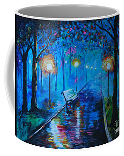 Coffee Mug featuring the painting Lighted Parkway by Leslie Allen