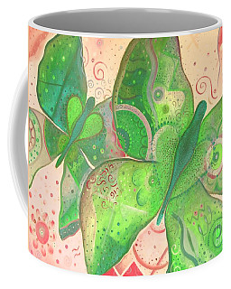Lighthearted In Green On Red Coffee Mug