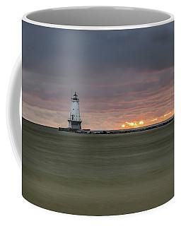 Lighthouse And Sunset Coffee Mug