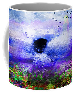 Coffee Mug featuring the painting Lighthouse Angel Purple In Hotty Totty Style by Catherine Lott