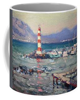Lighthouse At Dilesi Harbor Greece Coffee Mug
