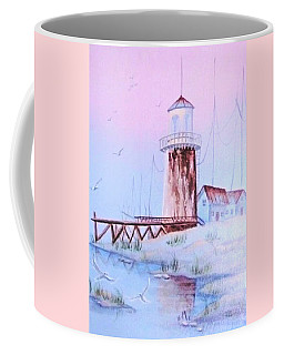 Coffee Mug featuring the painting Lighthouse by Denise Fulmer