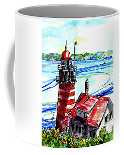 Lighthouse In Maine Coffee Mug by Terry Banderas