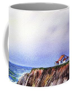 Lighthouse On The Cliff Watercolor Coffee Mug