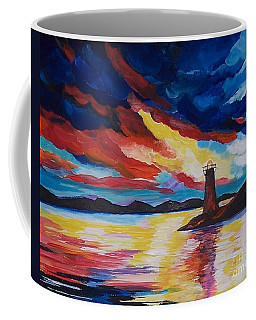 Coffee Mug featuring the painting Lighthouse Storm by Leslie Allen