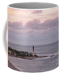 Lighthouse Sunset Peach And Lavender Coffee Mug