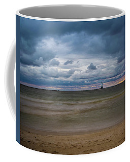 Lighthouse Under Brewing Clouds Coffee Mug
