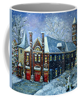 Lighting Up The Christmas Tree Coffee Mug by Rita Brown