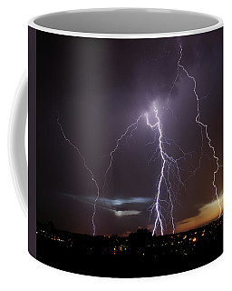 Coffee Mug featuring the photograph Lightning At Dusk by Brad Wenskoski