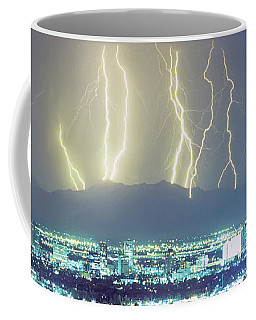 Coffee Mug featuring the photograph Lightning Over Phoenix Arizona Panorama by James BO Insogna