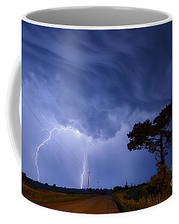 Lightning Storm On A Lonely Country Road Coffee Mug