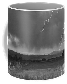 Lightning Striking Longs Peak Foothills 5bw Coffee Mug
