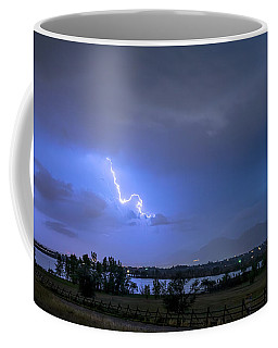 Coffee Mug featuring the photograph Lightning Striking Over Boulder Reservoir by James BO Insogna