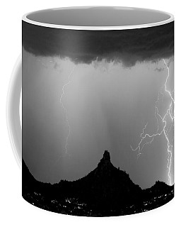 Lightning Thunderstorm At Pinnacle Peak Bw Coffee Mug by James BO  Insogna