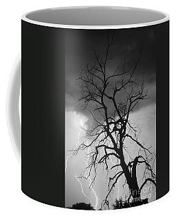 Lightning Tree Silhouette Portrait Bw Coffee Mug