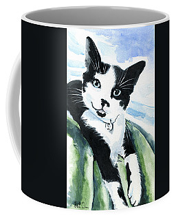 Coffee Mug featuring the painting Lil Kittens Can Smile - Tuxedo Cat Portrait by Dora Hathazi Mendes