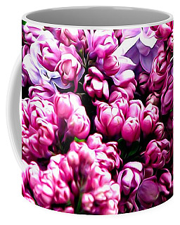 Coffee Mug featuring the photograph Lilac Blossoms Abstract Soft Effect 1 by Rose Santuci-Sofranko