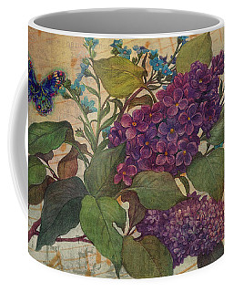 Coffee Mug featuring the painting Lilac Dreams Illustrated Butterfly by Judith Cheng