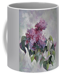 Coffee Mug featuring the painting Lilac by Elena Oleniuc