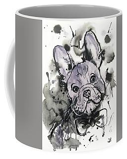 Coffee Mug featuring the painting Lilac Frenchie by Zaira Dzhaubaeva