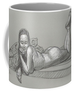 Coffee Mug featuring the drawing Liliana Reclining by Donelli  DiMaria