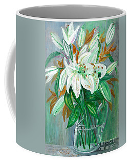 Lilies In A Glass Vase - Painting Coffee Mug