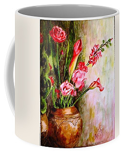 Coffee Mug featuring the painting Lilies In The Pots by Harsh Malik