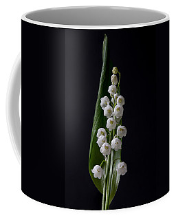 Lily Of The Valley On Black Coffee Mug
