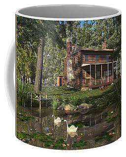 Coffee Mug featuring the digital art Lily Pond Cabin by Mary Almond