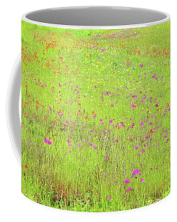 Coffee Mug featuring the digital art Lime And Hot Pink Field by Ellen Barron O'Reilly