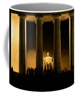 Lincoln Memorial Illuminated At Night Coffee Mug
