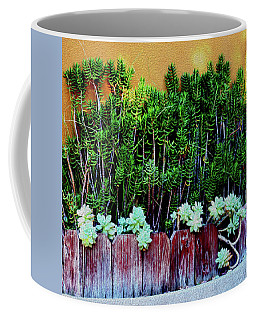 Line Of Succulents And Red Fence Coffee Mug