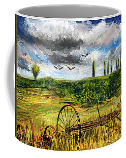 Lingering Memories Of The Past - Pastoral Artwork - Antique And Vintage Farm Equipment Coffee Mug