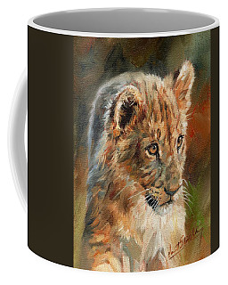 Coffee Mug featuring the painting Lion Cub Portrait by David Stribbling