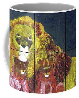 Coffee Mug featuring the painting Lion Family by Donald J Ryker III