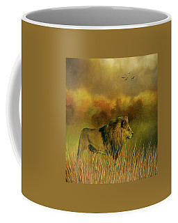 Coffee Mug featuring the photograph Lion In The Mist by Diane Schuster