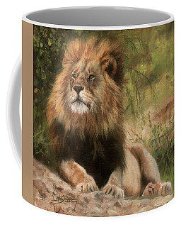 Coffee Mug featuring the painting Lion Resting by David Stribbling