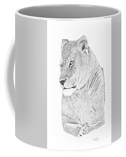 Coffee Mug featuring the drawing Lioness by Patricia Hiltz