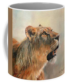 Coffee Mug featuring the painting Lioness Portrait 2 by David Stribbling