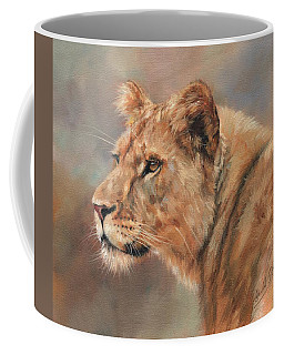 Coffee Mug featuring the painting Lioness Portrait by David Stribbling
