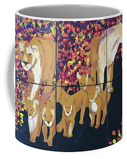 Coffee Mug featuring the painting Lioness Pride by Donald J Ryker III